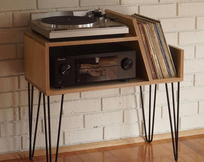Oak Vinyl Storage Record Player Stand With Media Storage