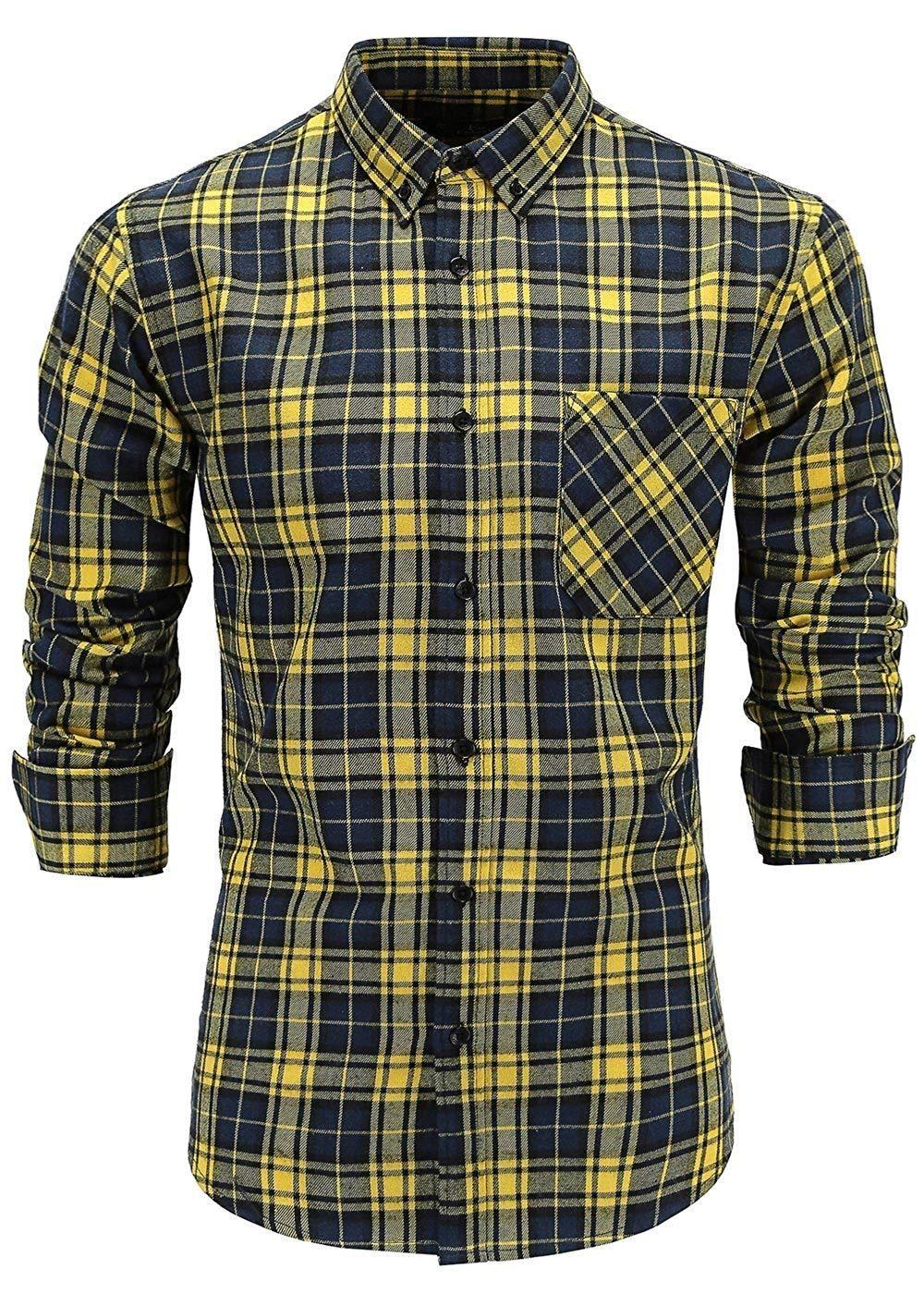 Emiqude Mens Casual Flannel Cotton Slim Fit Long Sleeve Plaid Dress Shirt