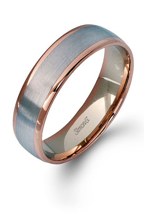 14k Rose Gold And 14k White Gold Men S Wedding Band Style Lg116 By Simon G Mens Wedding Bands White Gold Mens Wedding Bands Mens Wedding Rings