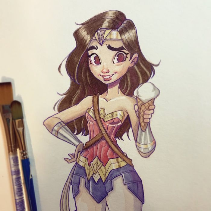Coloriage Batman Kawaii.Tuto Dessin Wonder Woman A L Aquarelle Art Wonder Woman