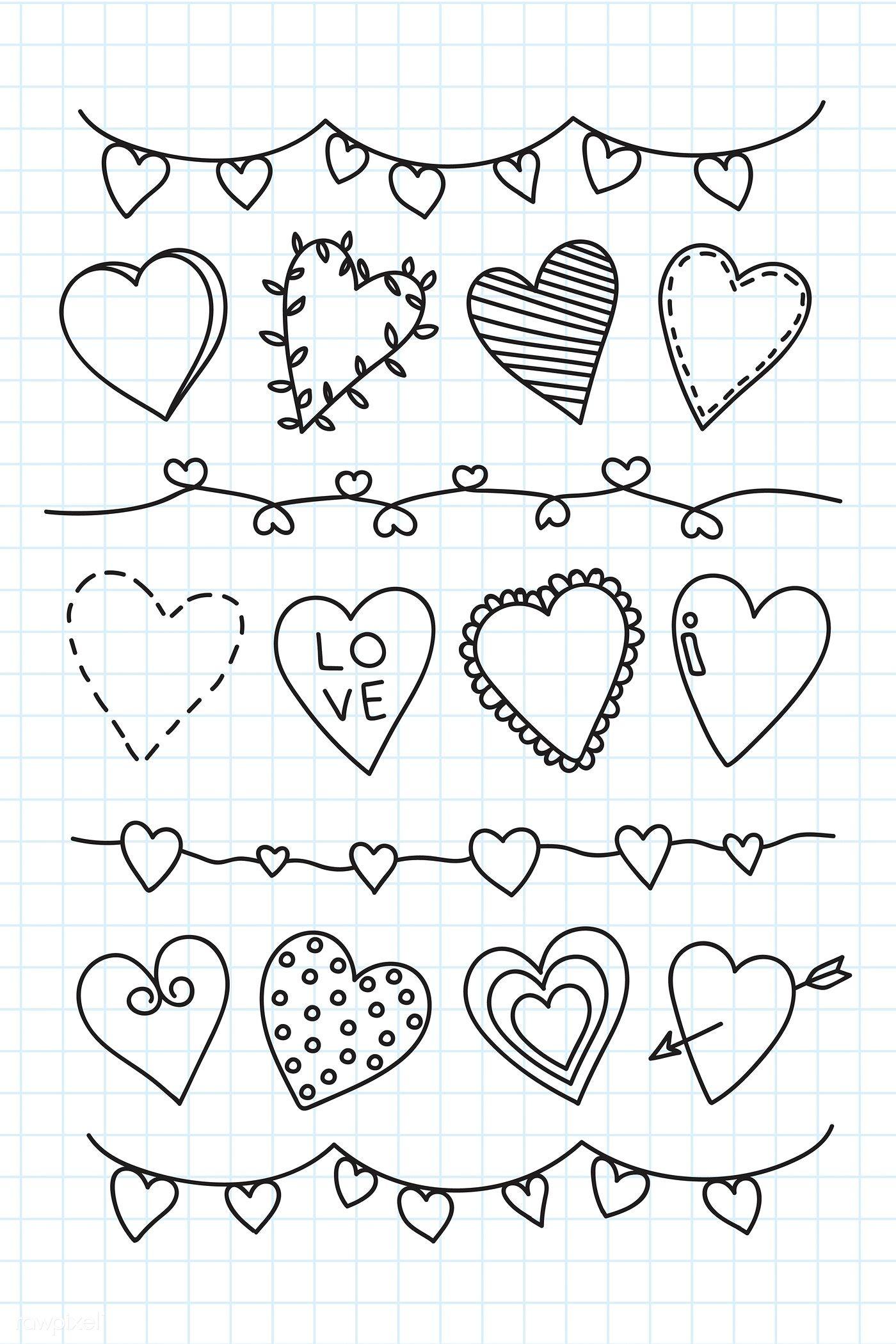 Download premium illustration of Hand drawn heart doodle