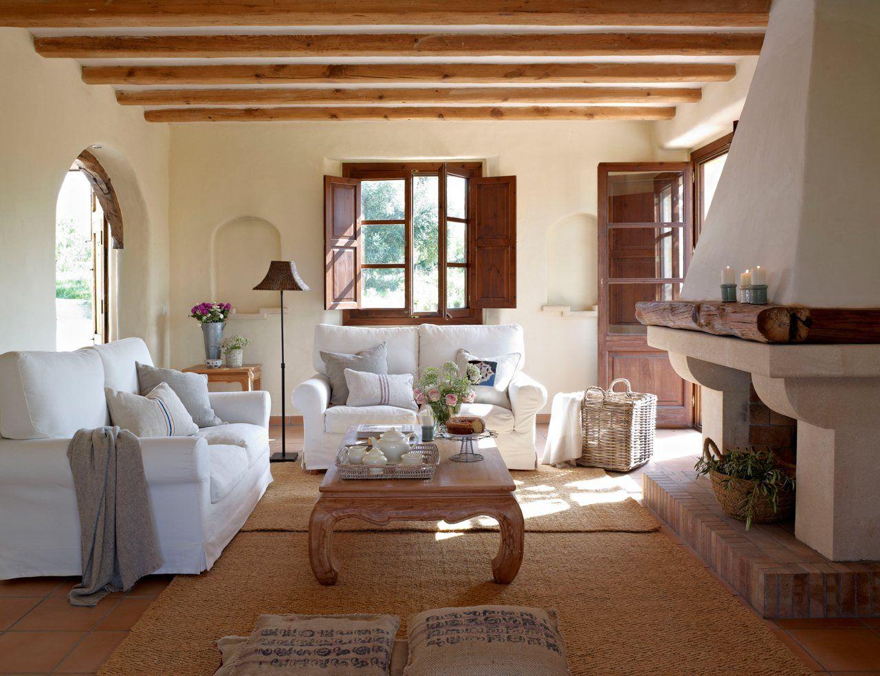 15 salones con chimenea | Salón, Sofás blancos y El invierno