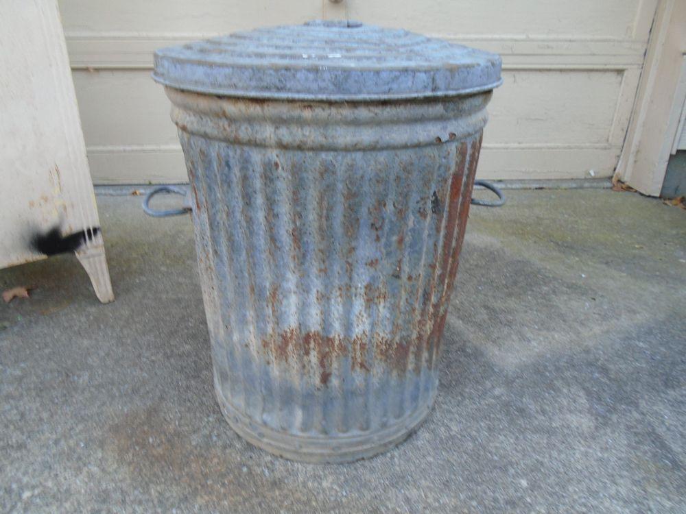 Vintage Trash Can Garbage Galvanized Steel Metal Waste Bin