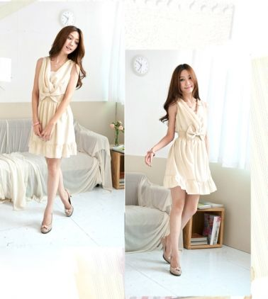Bowtie Crossed V-neck Ruffled Chiffon Dress Light yellow on BuyTrends.com, only price $9.07