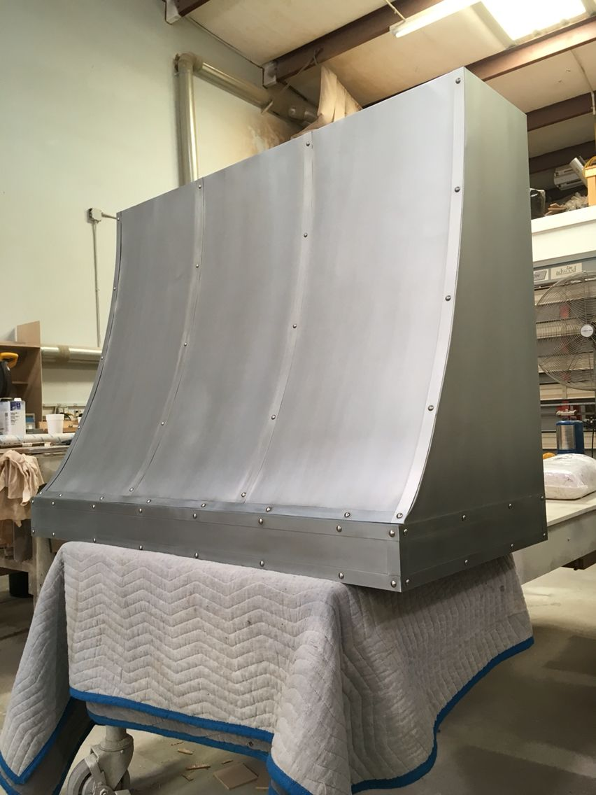 48 Zinc Sheet Metal Vent Hood With Straps And Nail Heads Zinc Sheet Simple Furniture Stainless Vent Hood