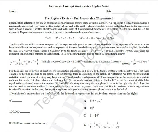 Basic Algebra Worksheet 6 PreAlgebra Review