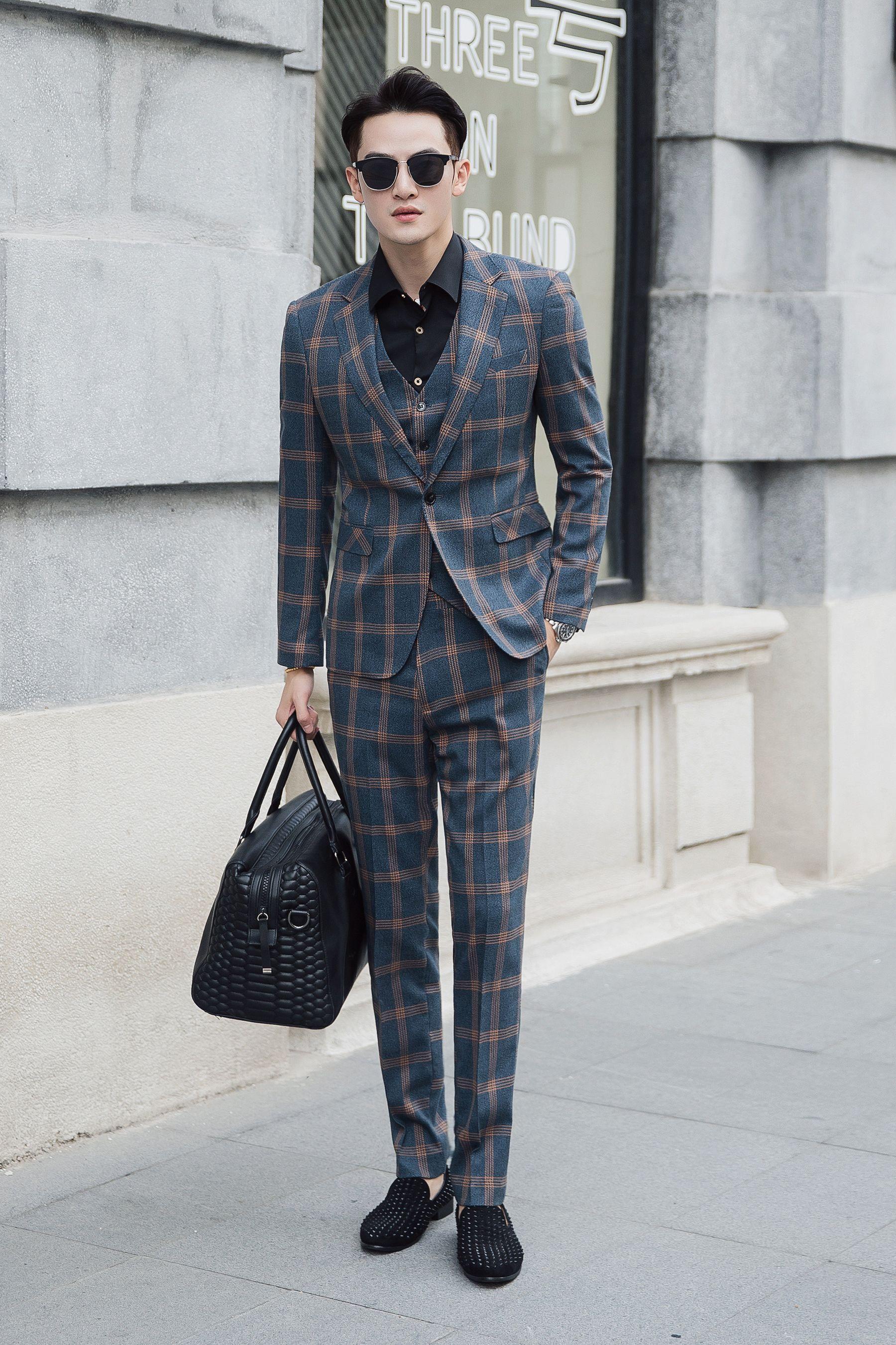 Plus size casual wedding dress  Plaid Wedding Dress Suits for Men Plus Size Casual Party Gentleman