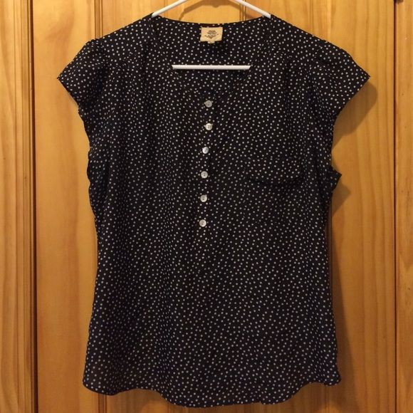 ⭐️Polka Dot Blouse Adorable silky black and white polka dot blouse with cap sleeves, buttons, and front pocket. 100% polyester. Tag reads Vasa brand, purchased from Urban Outfitters. Urban Outfitters Tops Blouses