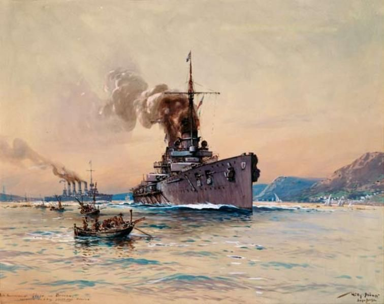 Die Panzerkreuzer Goeben Und Breslau Vor Messina Navy Art
