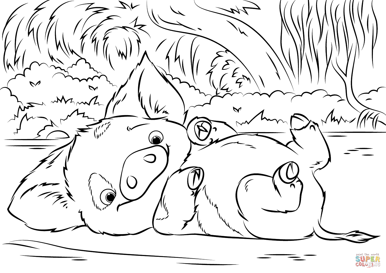 Pua Pet Pig from Moana coloring page | Free Printable Coloring Pages ...