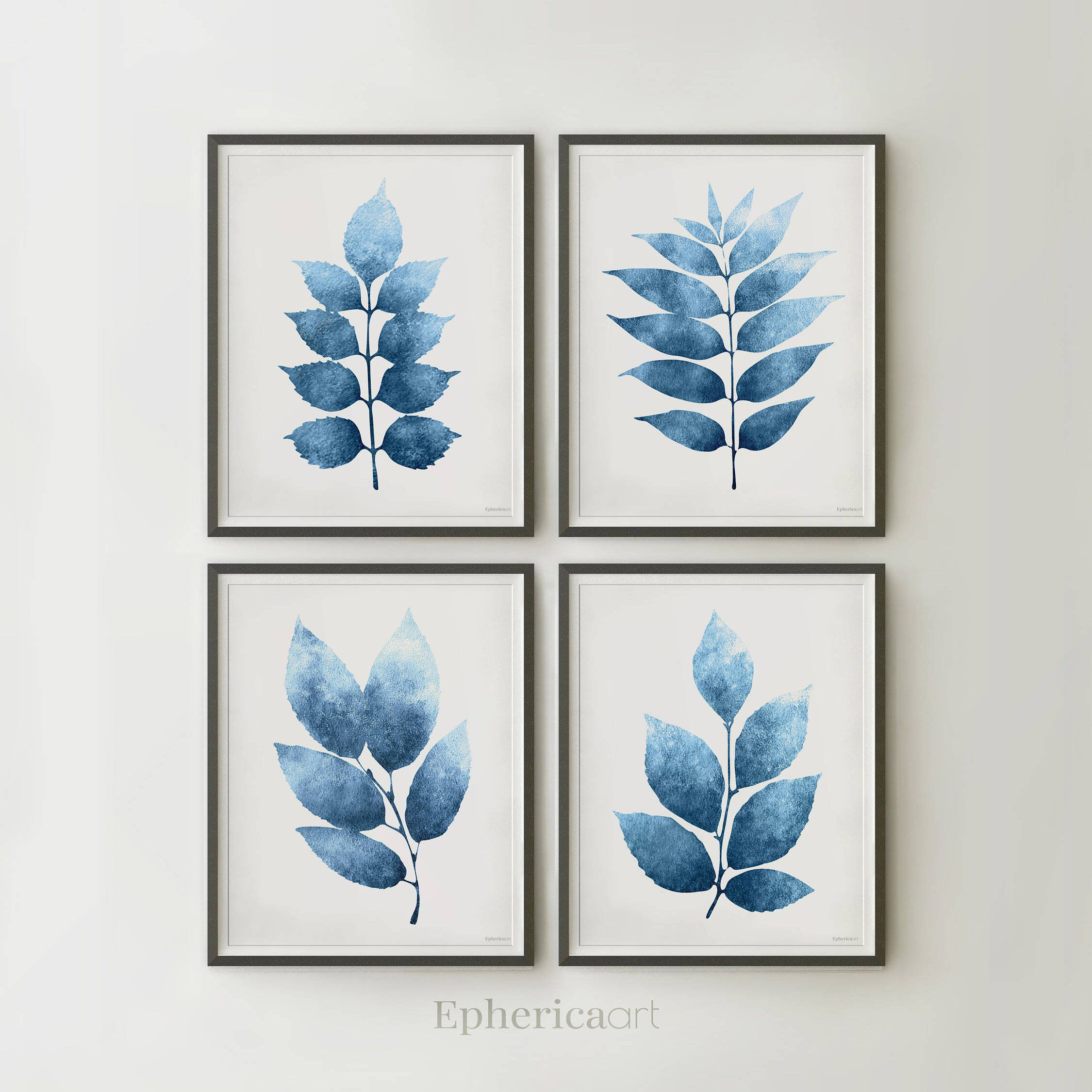 Dark Blue Wall Bedroom Ideas: Botanical Print Set Of 4 Blue Prints Wall Art, Botanical