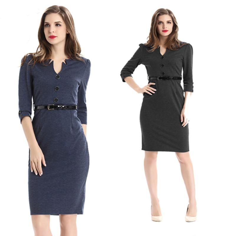 eed6d02150d Work Dresses for Women Plus Size Formal Career Office Dress Black Gray  Business Clothes High-end Slim Knee Length