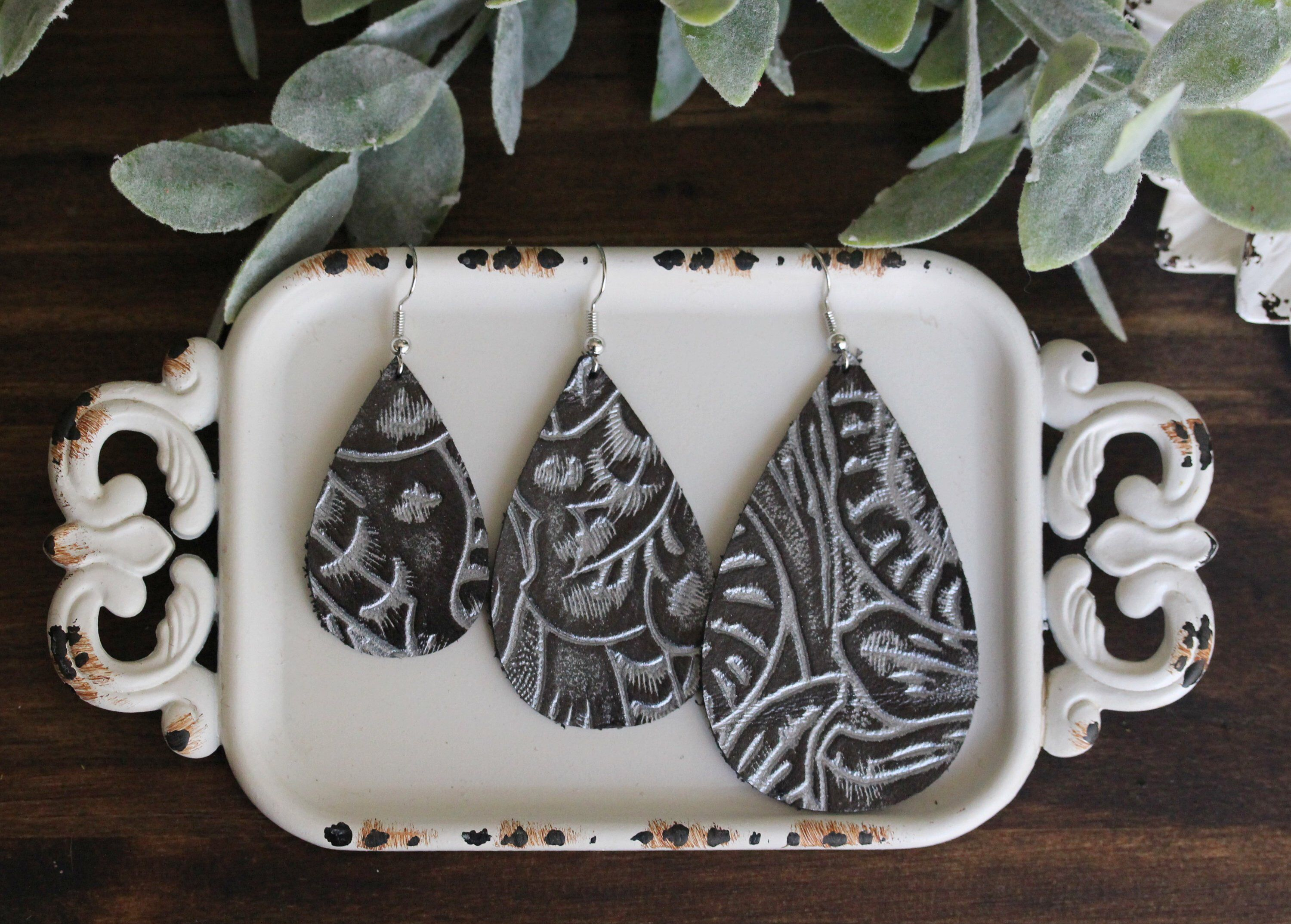 Black And Silver Leather Earrings Western Pattern Genuine
