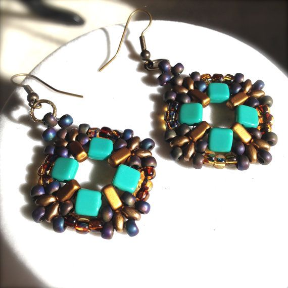 women beaded earrings handmade earrings drop dangle by fatash1