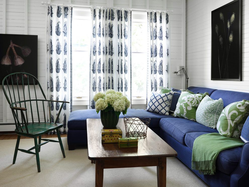 Moss Green And Blue Living Room Beach Style With Wall