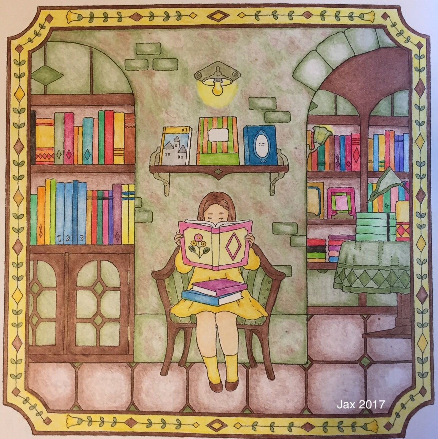 my colorful town chiaki ida library bookstore book nook done in