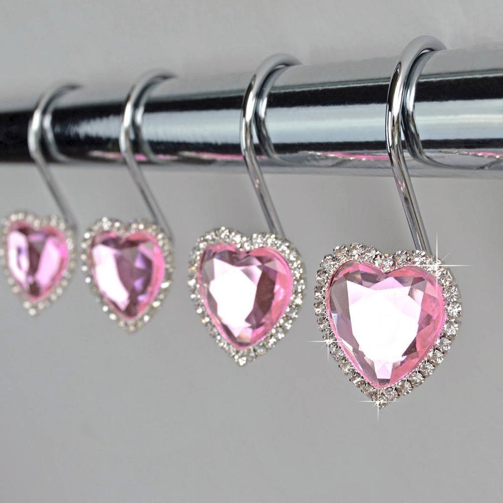 Shower Curtain Hooks Rings Pink Decorative Crystal Gems Diamond