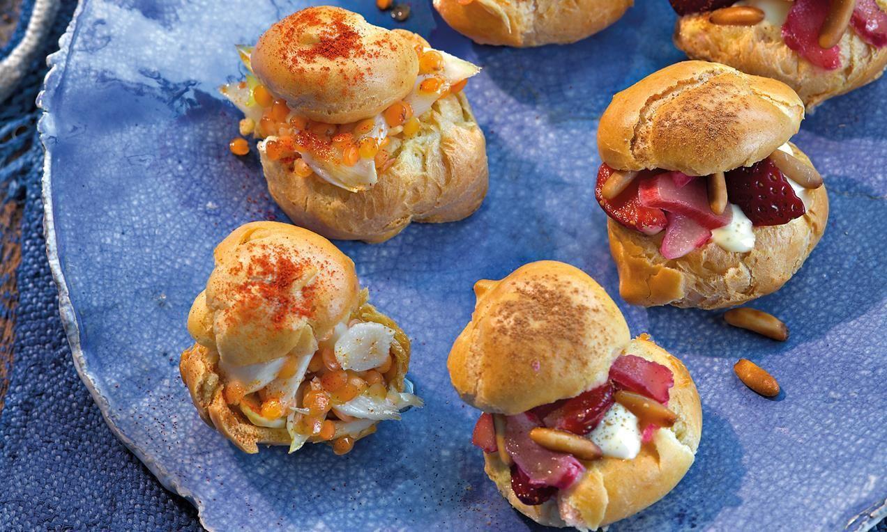 Gefüllte Snacks mit Linsensalat oder Erdbeer-Rhabarbersalat für die nächste Party