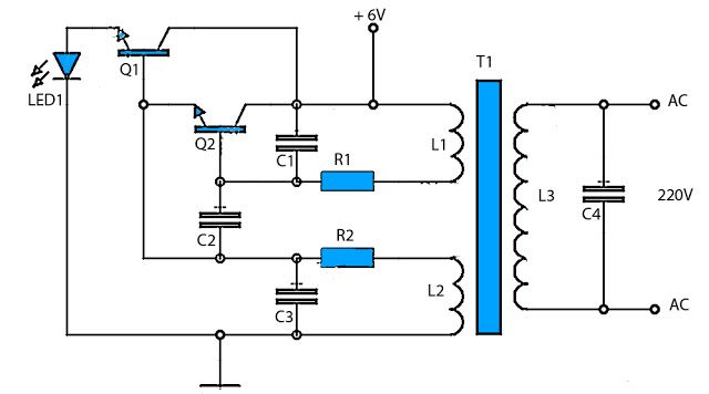 This 6v To 220v Inverter Circuit Schematic Is One Of The Voltage Inverter Circuit Starting From 6 Vol Circuit Diagram Power Supply Circuit Electronics Circuit