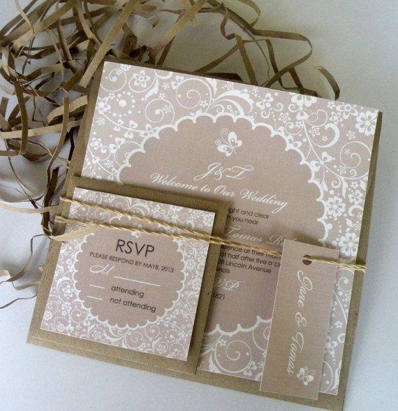 SAMPLE Wedding Invitation Set ECO Lace Flowers By IrisPola On Etsy