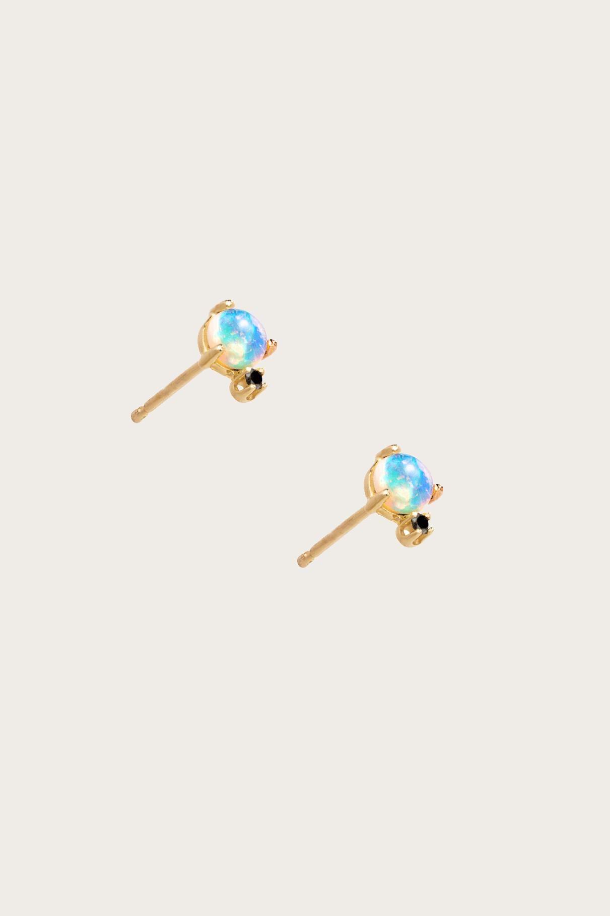 Classic Opal and Black Diamond Earrings WWAKE