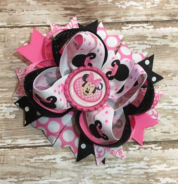 Arco del pelo de Minnie Mouse rosa princesa arco Cheetah