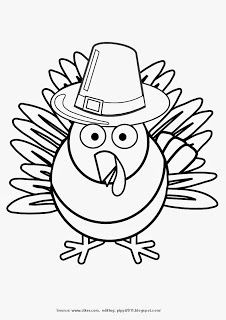 Turkey Wearing Pilgrim Hat Thanksgiving Day Printable Coloring