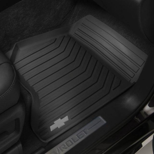 Front All Weather Floor Mats In Jet Black With Bowtie Logo Floor