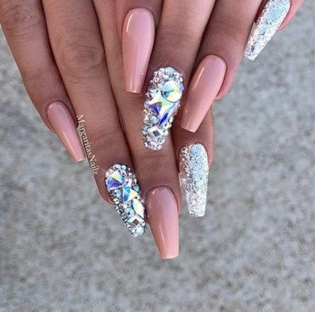 20 trendy nails glitter coffin bling  coffin nails