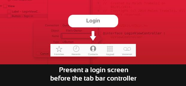 Present a login screen before the tab bar controller in a