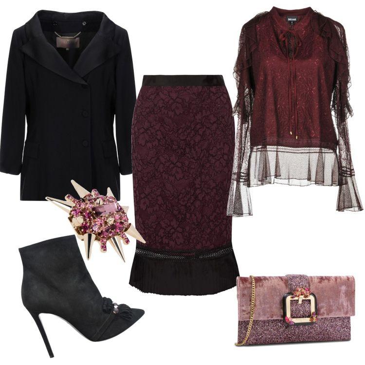 blusa bordeau giacca nera outifit