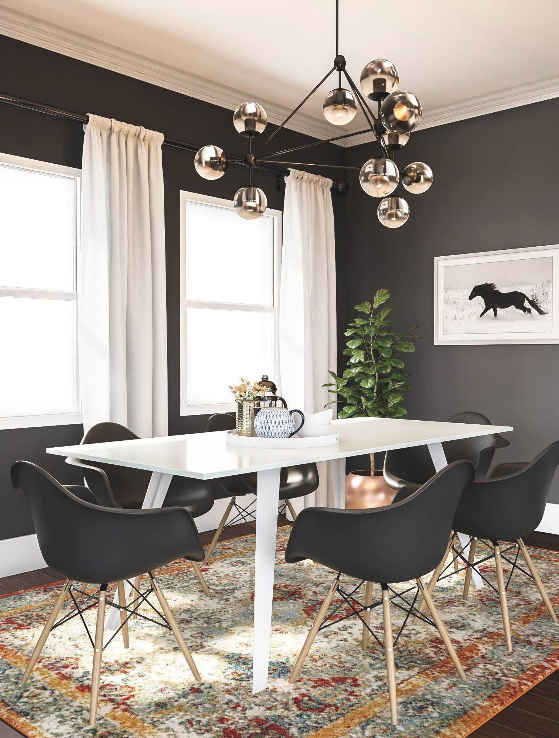 Graceful Houzz Dining Room Rug Ideas That Look Beautiful Black And White Dining Room Black Dining Room Dark Dining Room