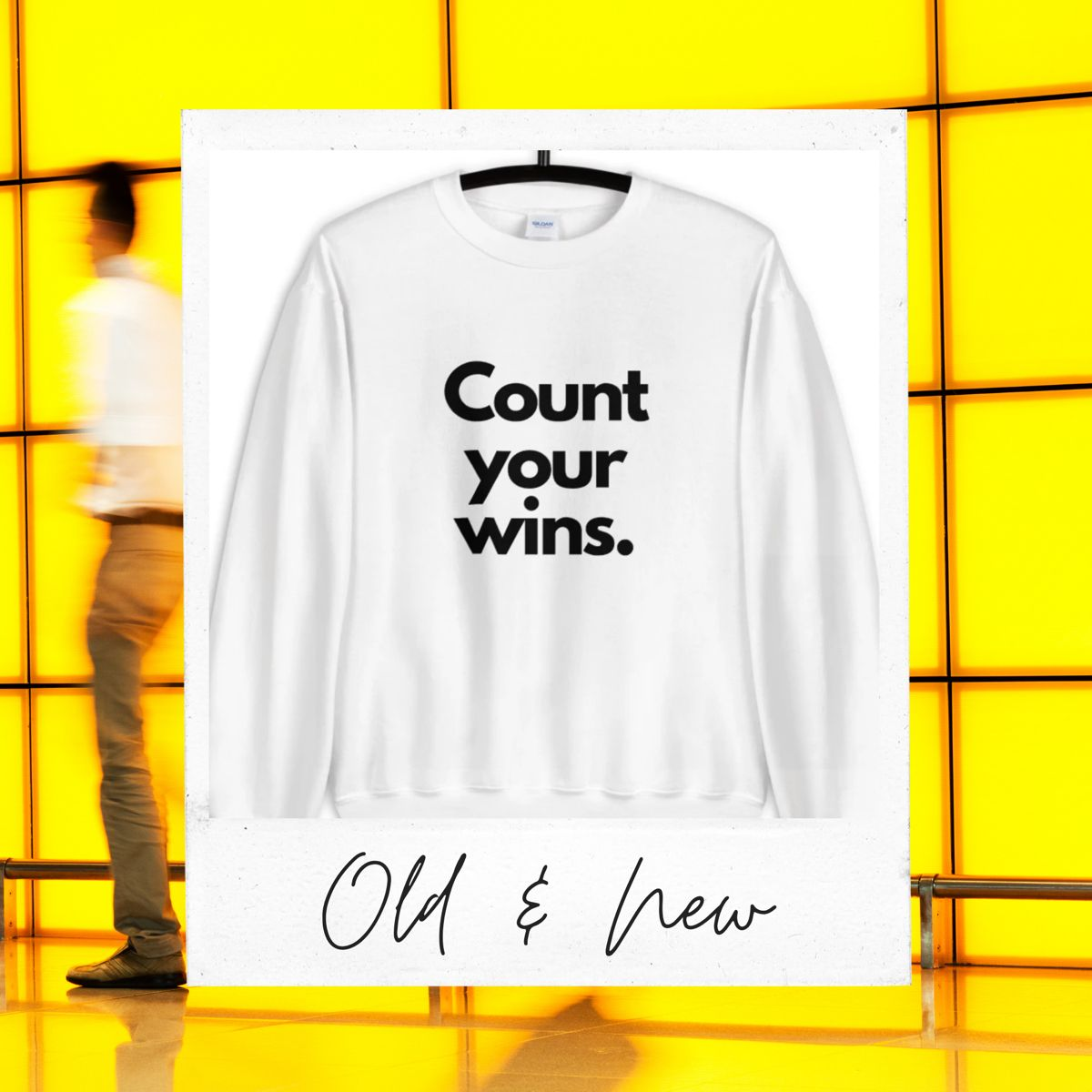 Count Your Wins Unisex Sweatshirt White/Pink/Blue – Bags Plus Some