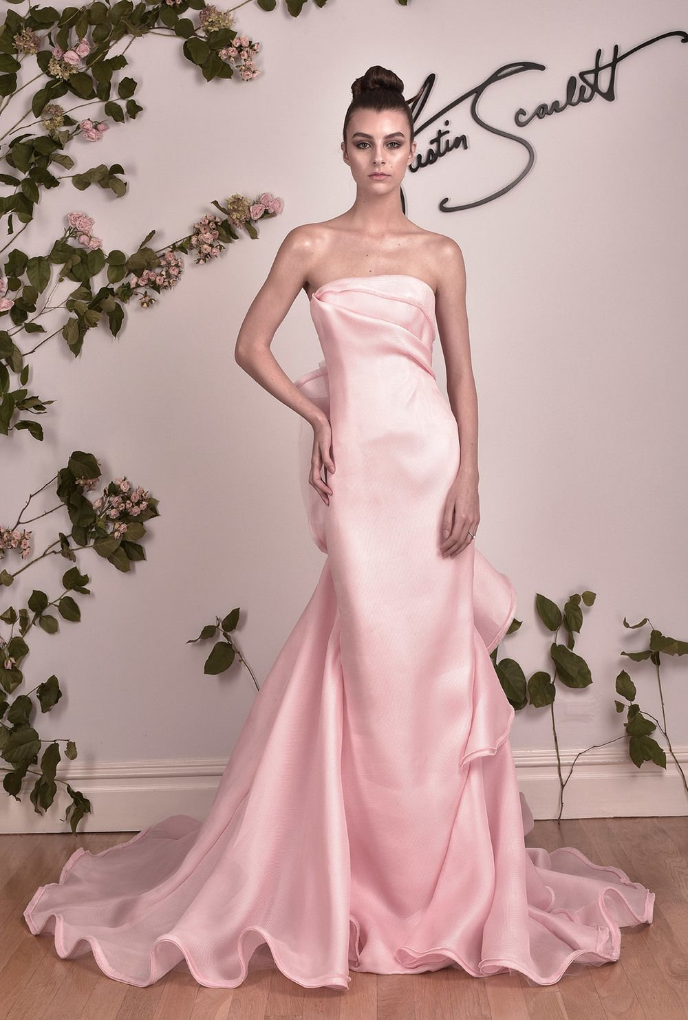 Strapless column gown with sculpted spiraling ruffle back and train ...