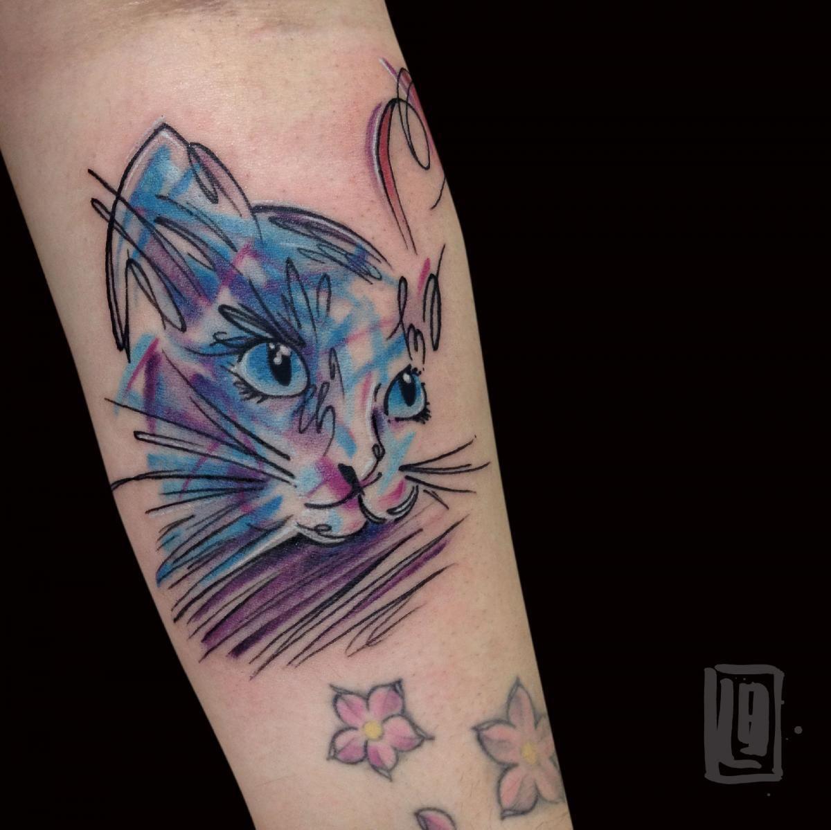 Follow my Facebook page: l.braidotti luca.braidotti@hotmail.com #tattoo #lucabraidotti #sketchtattoo #alternativetattoo #wctattoo #cattattoo #cat #abstracttattoo