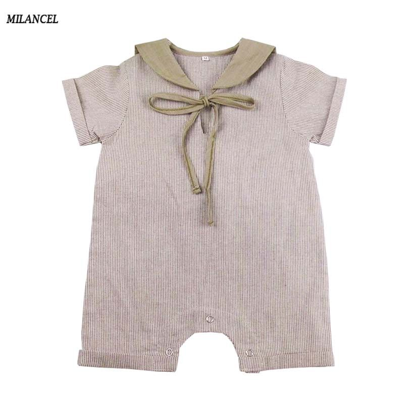 f6452d153491 MILANCEL 2018 Baby Rompers Sailor Collar New Born Baby Girl Clothes Cute Baby  Boy Jumpsuits Cotton Baby Onesie For 0-2y