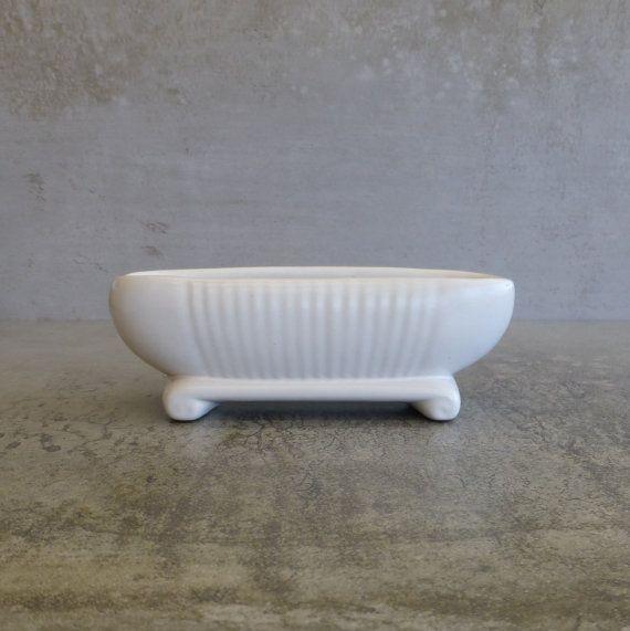 Small Mid Century Slip Cast Pottery Trough Vase Australian Pottery