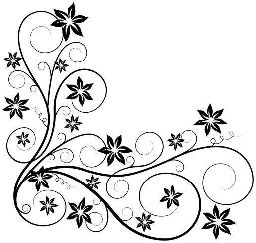 Digital Stamp Design Flourish Rose Border Corner Clip Art
