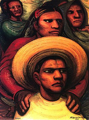 Mexican Muralist Art Painting People David Alfaro Siquieros