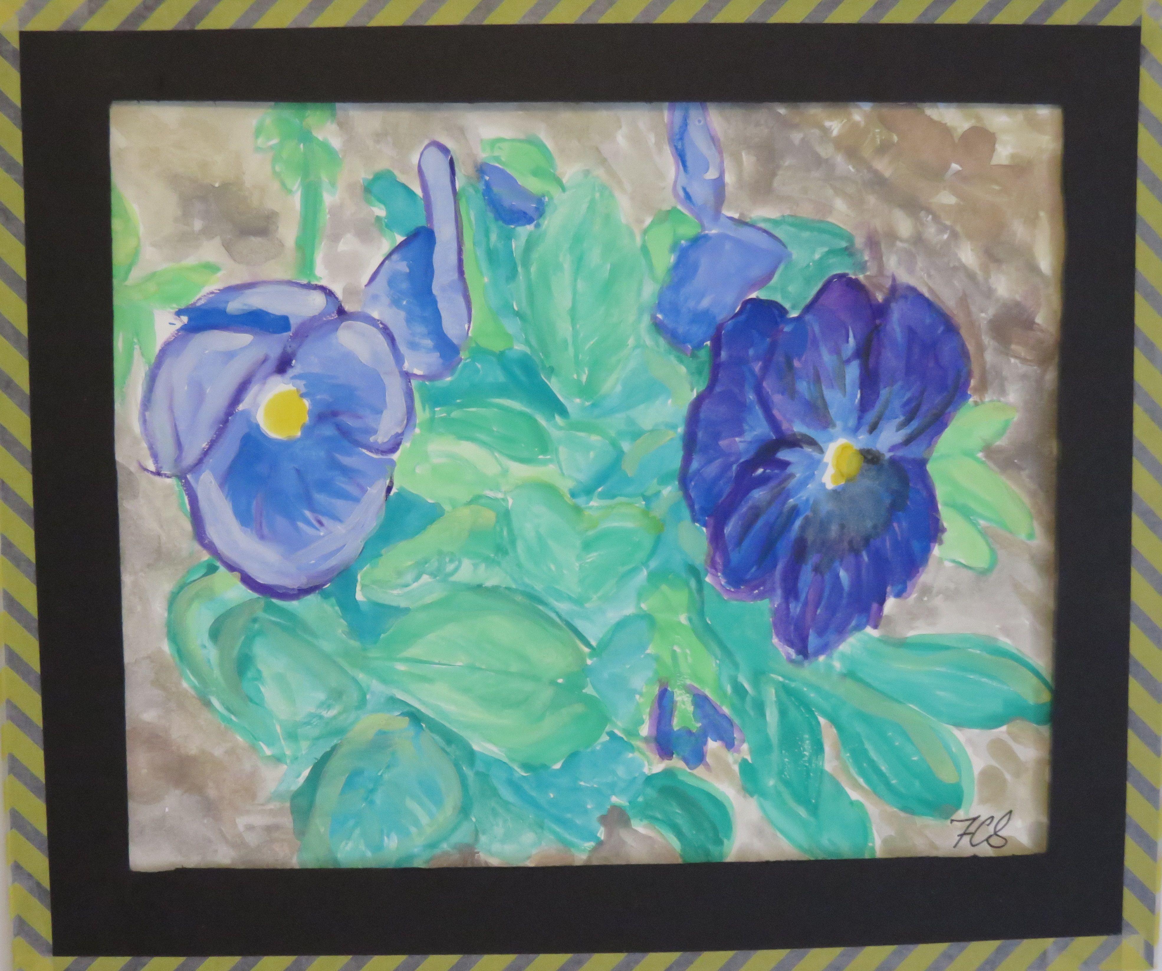 Purple Pansies - water colors.