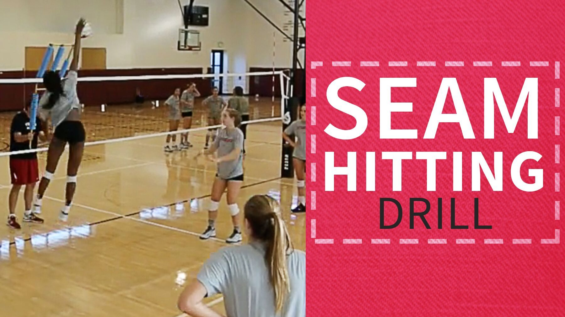Teach Your Outside Hitters And Middles To Hit The Seam Between Two Blockers With This Drill From John Dun Coaching Volleyball Kids Volleyball Volleyball Drills