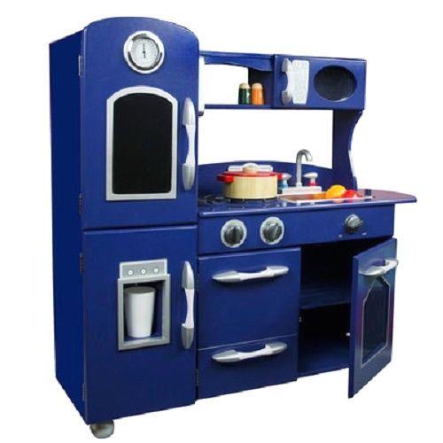 Wooden Play Kitchen Set Blue Chef