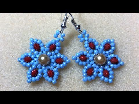 Six Petal Earring - Gold Pearl & Red/Blue Seed Beads - YouTube #beads