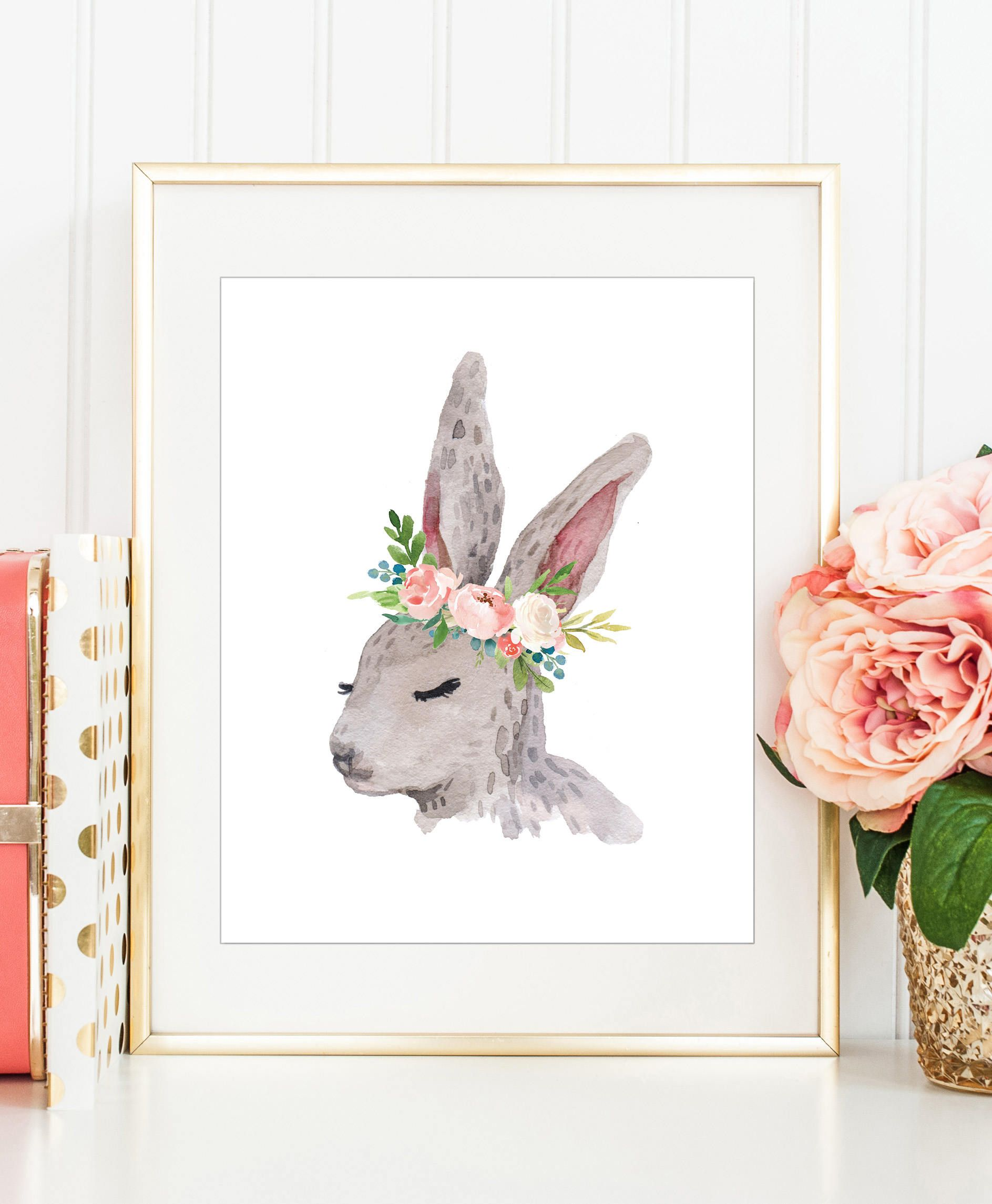 Nursery Prints Girl Bunny Wall Art Girls Nursery Print Watercolor Rabbit Woodland
