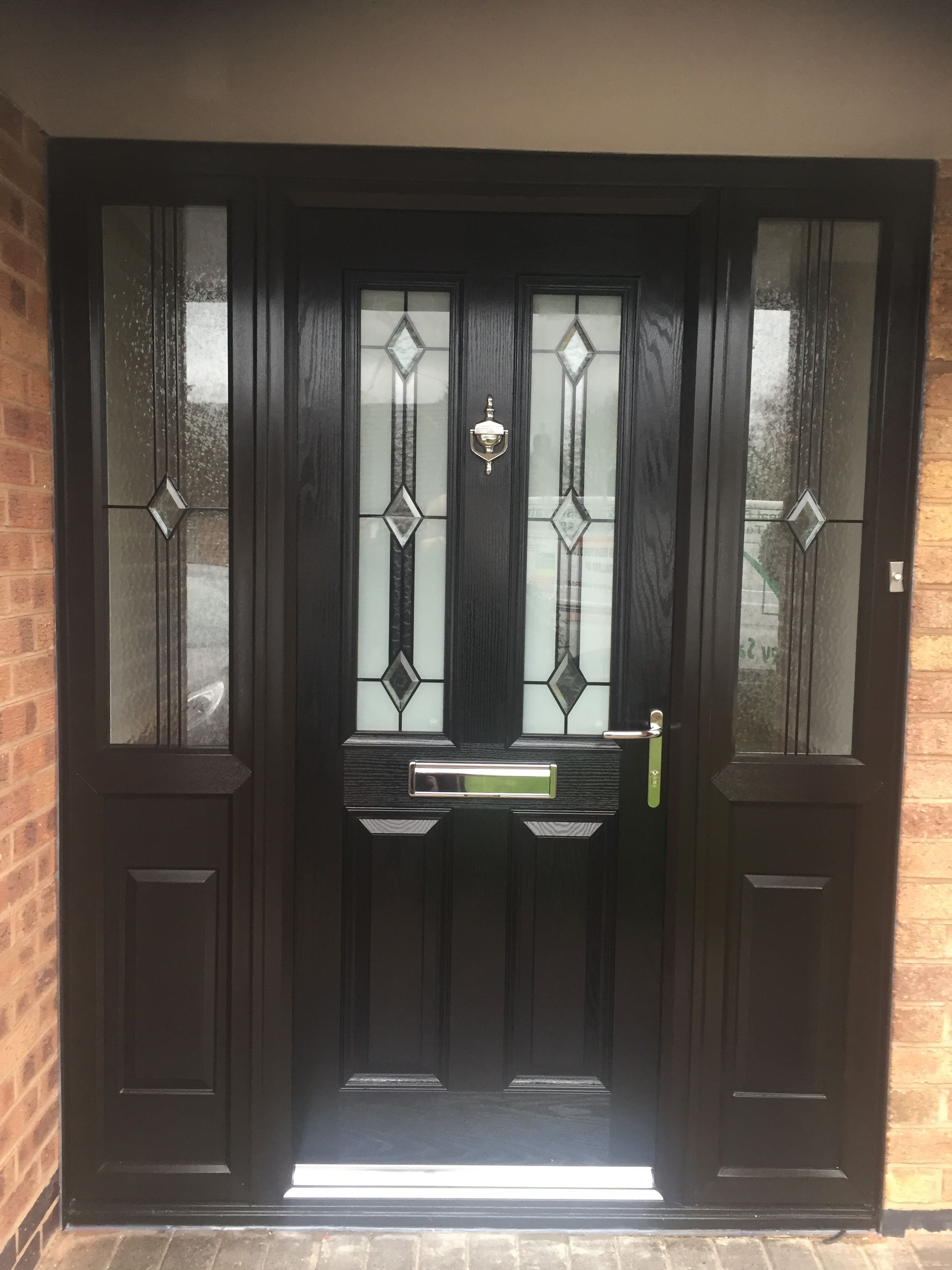 Black Composite Door In A Upvc Frame Installed By Windseal Double Glazing Based Coventry Warwickshire