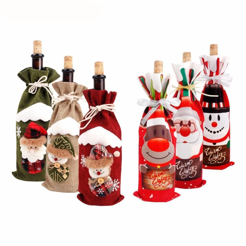 Christmas Wine Bottle Cover 100 Brand New And High Quality Very Cute Bags Great For Wi Christmas Wine Bottles Christmas Wine Bottle Covers Wine Bottle Covers