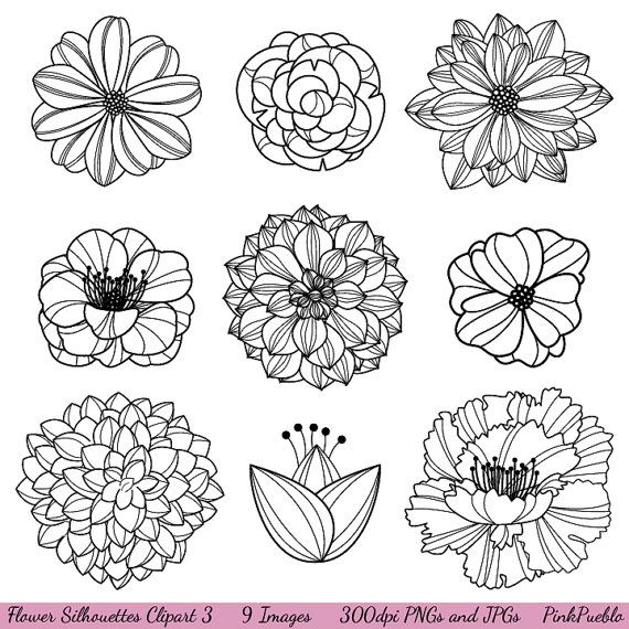 Black And White Flower Clip Art - 3 Flowers Clipart Black And White - Free  Transparent PNG Clipart Images Download