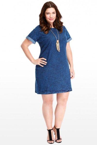 f899881eecf23 Plus Size com Estilo – Modelos de Vestidos Jeans para Gordinhas ...