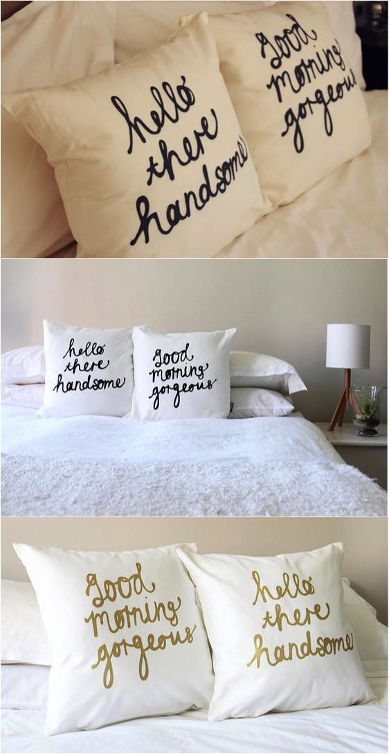 Cute Pillows For Couples : How insanely cute are these pillows? These would be such a great gift for a young couple that ...