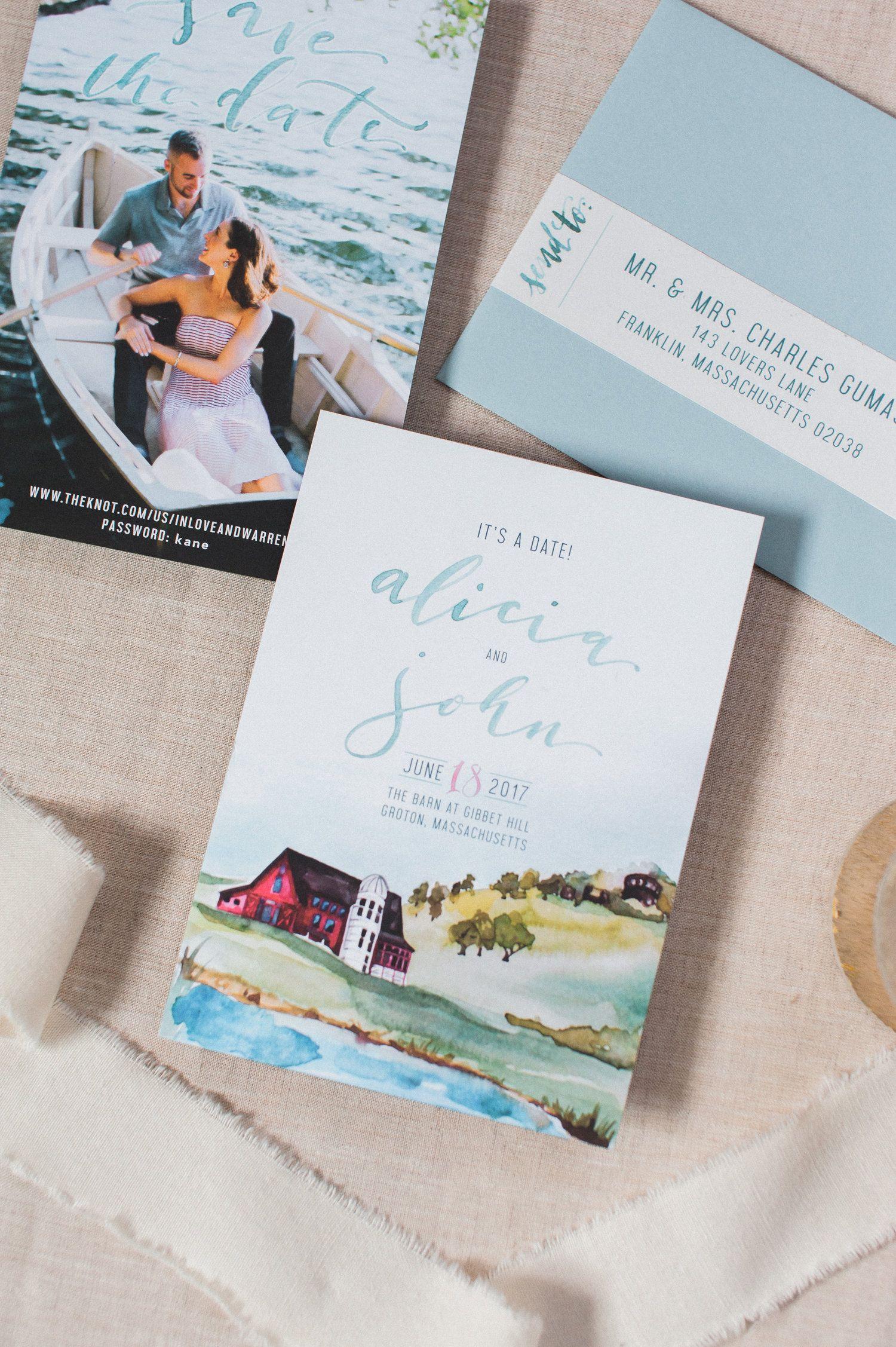 sample wording for save the date wedding cards%0A gibbet hill wedding save the dates and wedding invitations  custom venue  watercolor  custom design